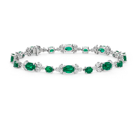 Blue Nile Petite Stationed Emerald and Diamond Bracelet in 14k White Gold Hl4uBsz