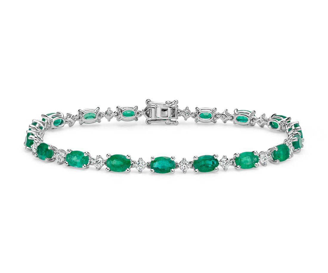 Emerald And Diamond Bracelet In 18k White Gold 6x4mm