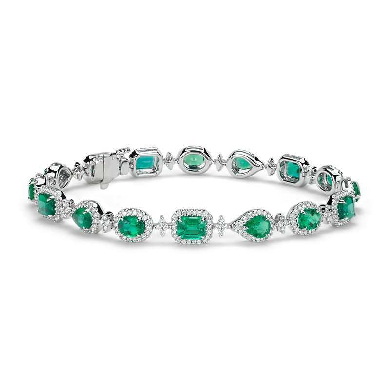 Emerald and Halo Diamond Bracelet in 18k White Gold (5.39 ct. tw.