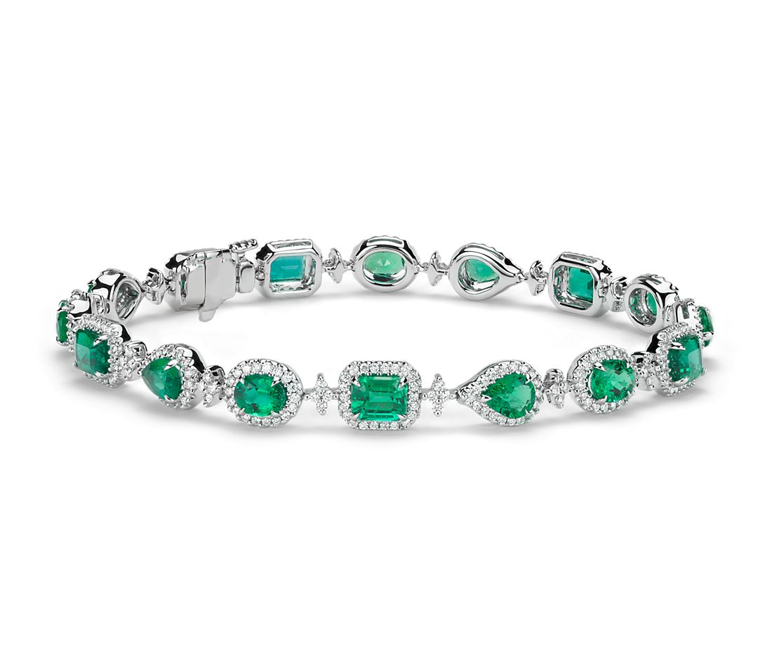 Emerald and Halo Diamond Bracelet in 18k White Gold (5.39 ct. tw.)