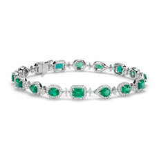 Emerald and Halo Diamond Bracelet in 18k White Gold