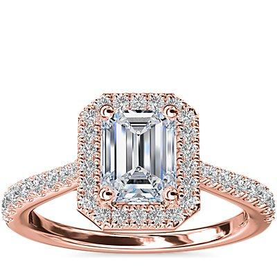 NEW Emerald Diamond Bridge Halo Diamond Engagement Ring in 14k Rose Gold (1/3 ct. tw.)