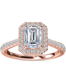 14k 玫瑰金祖母绿钻石桥光环钻石订婚戒指(1/3 克拉总重量)