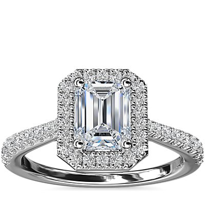 NEW Emerald Diamond Bridge Halo Diamond Engagement Ring in 14k White Gold (1/3 ct. tw.)