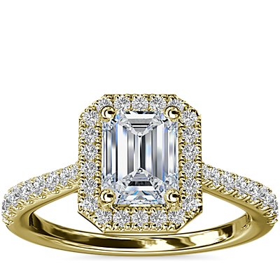 Emerald Diamond Bridge Halo Diamond Engagement Ring in 14k Yellow Gold (1/3 ct. tw.)