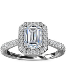 Emerald Diamond Bridge Halo Diamond Engagement Ring in Platinum (1/3 ct. tw.)