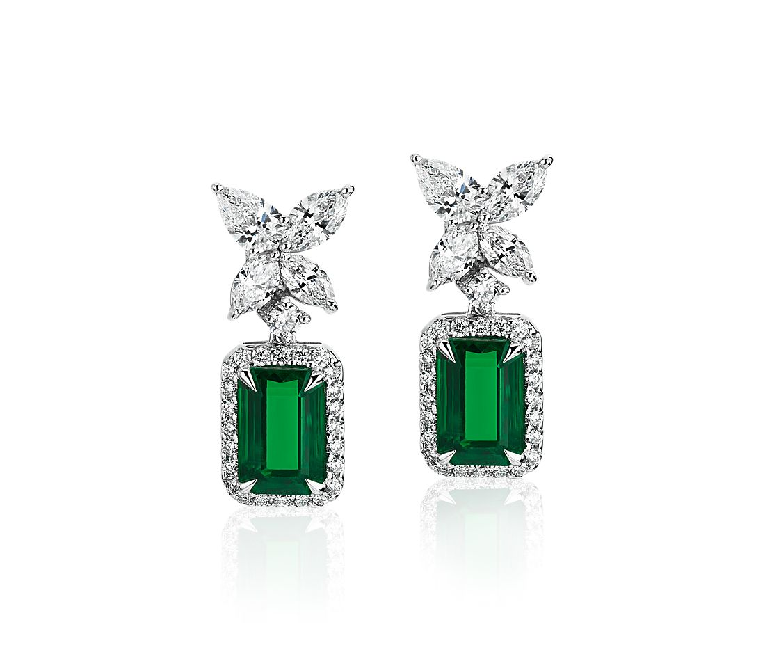 Emerald and Diamond Butterfly Drop Earrings in 18k White Gold (8.6x5.7mm)