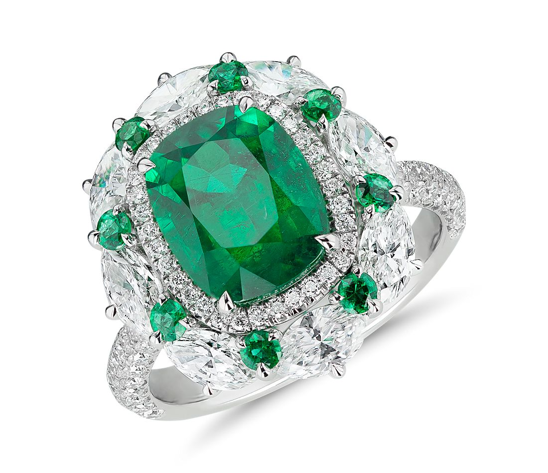 Emerald and Diamond Cocktail Ring in 18k White Gold (3.71 ct. centre)