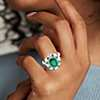 Emerald and Diamond Cocktail Ring in 18k White Gold (3.71 ct. center)