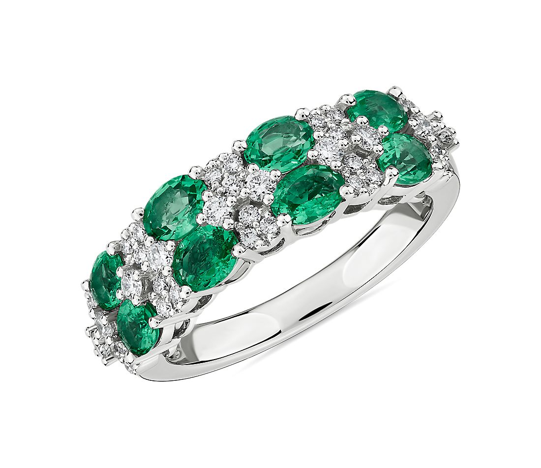 Oval Emerald & Round Diamond Double Row Ring in 14k White Gold