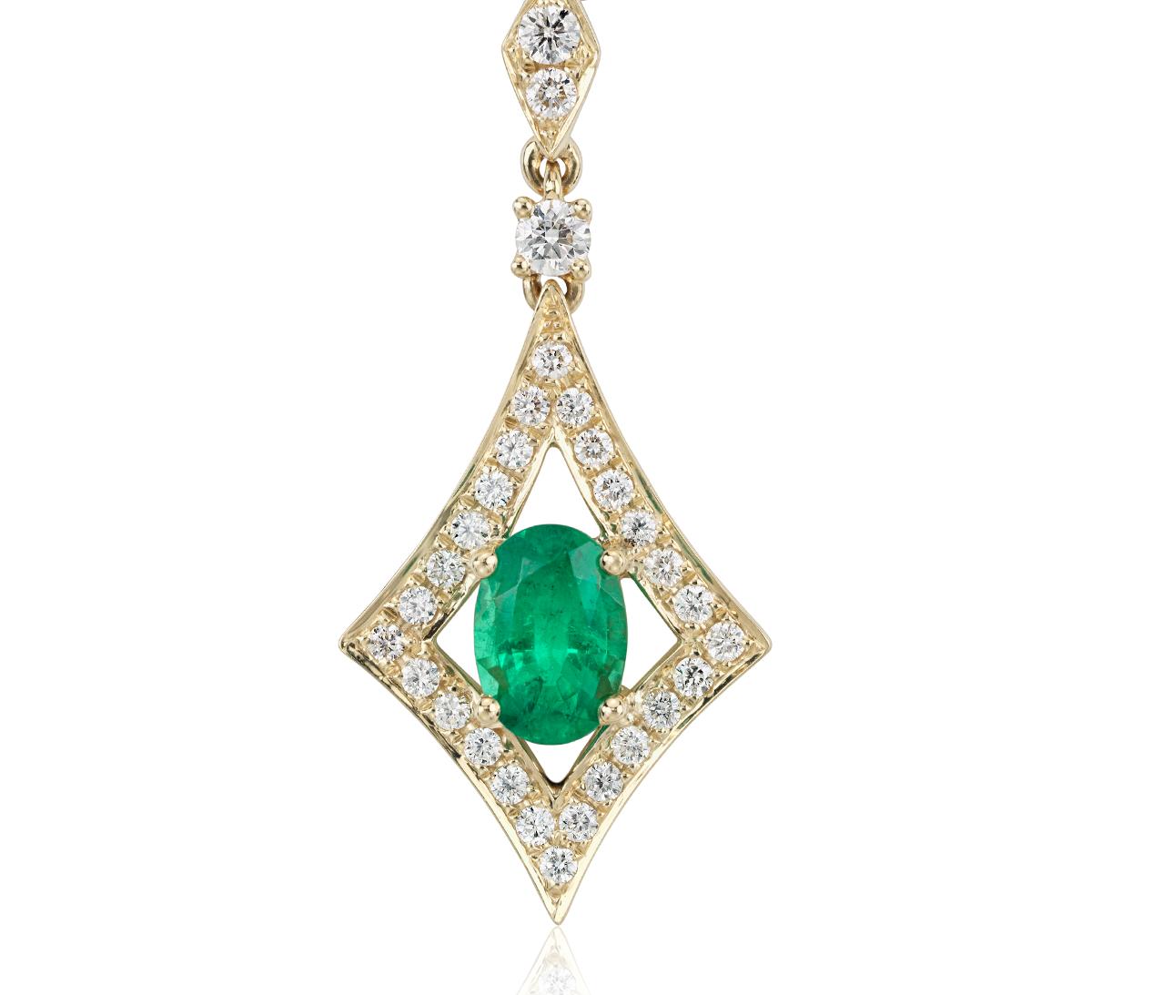 Colgante de diamante y esmeralda en oro amarillo de 18k (7x5mm)