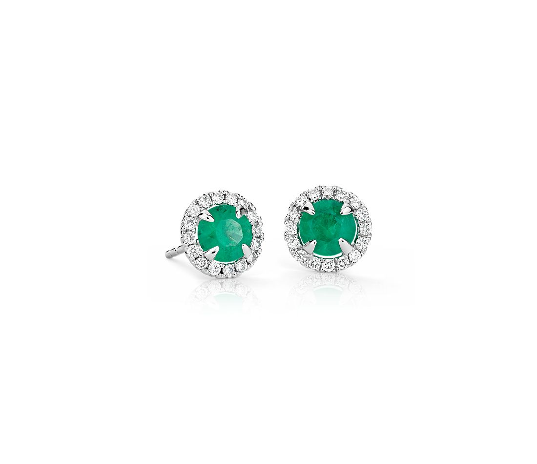 Emerald And Micropavé Diamond Stud Earrings In 18k White Gold 5mm
