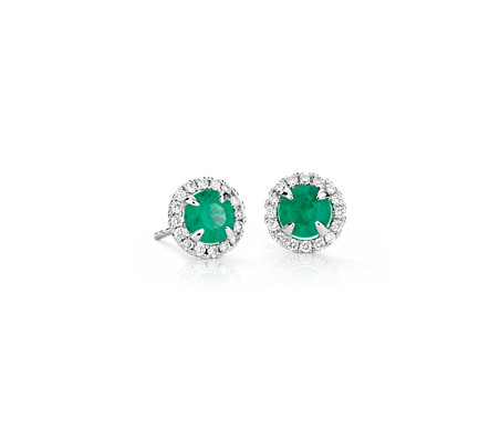 Emerald and Micropavé  Diamond Stud Earrings in 18k White Gold (5mm)