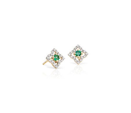 Petite Emerald Floral Stud Earrings in 14k Yellow Gold