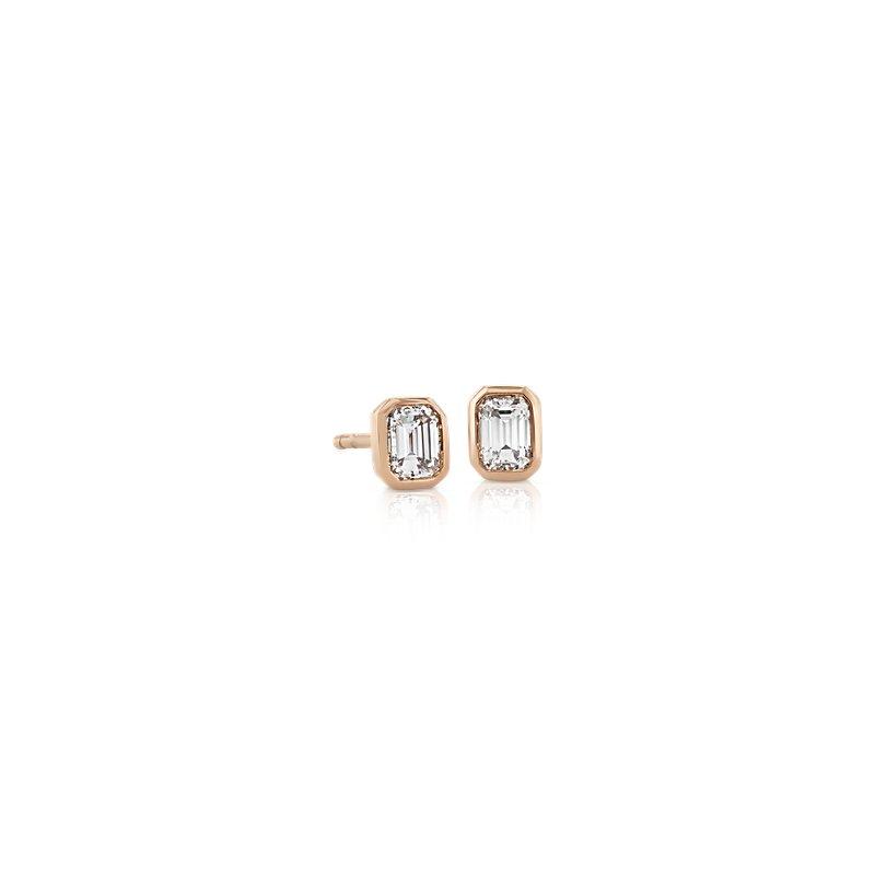 Mini Bezel-Set Emerald-Cut Diamond Stud Earrings in 14k Rose Gold