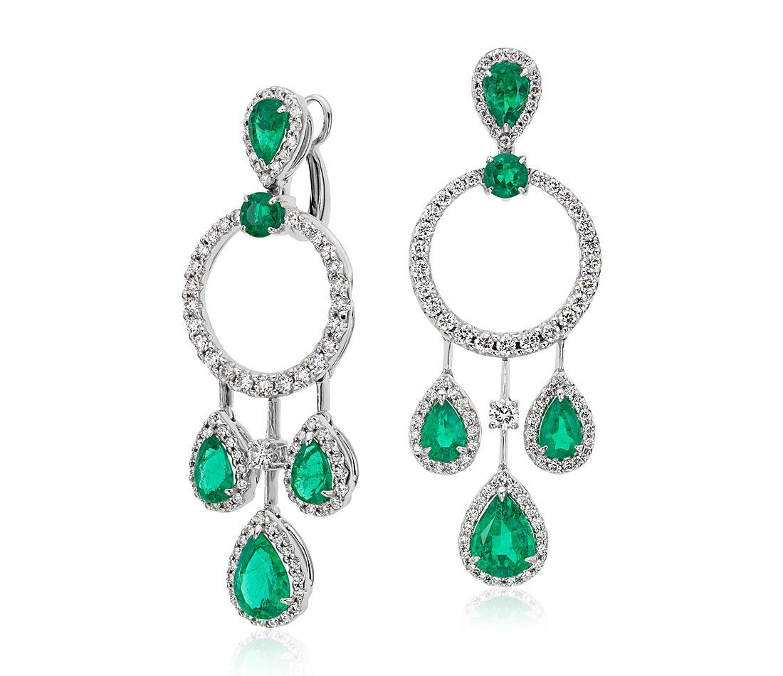 Pear Shape Emerald And Diamond Drop Earrings In 18k White Gold 4 41 Ct Tw