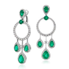 Pear Shape Emerald and Diamond Drop Earrings in 18k White Gold (4.41 ct. tw.)