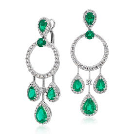 Pear Shape Emerald and Diamond Dangle Earrings in 18k White Gold (4.41 ct. tw.)