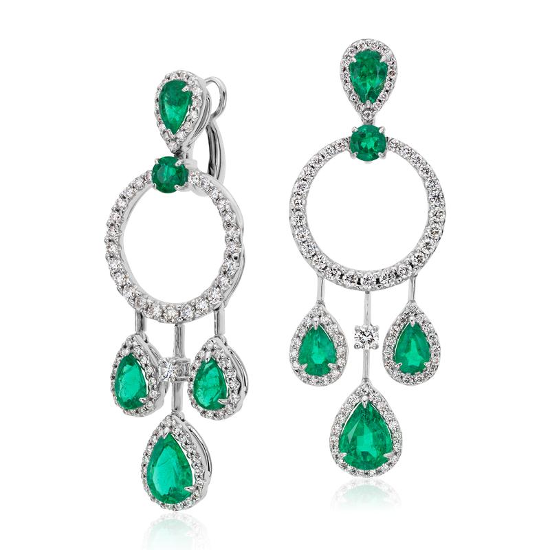 Pear Shape Emerald and Diamond Drop Earrings in 18k White Gold (4