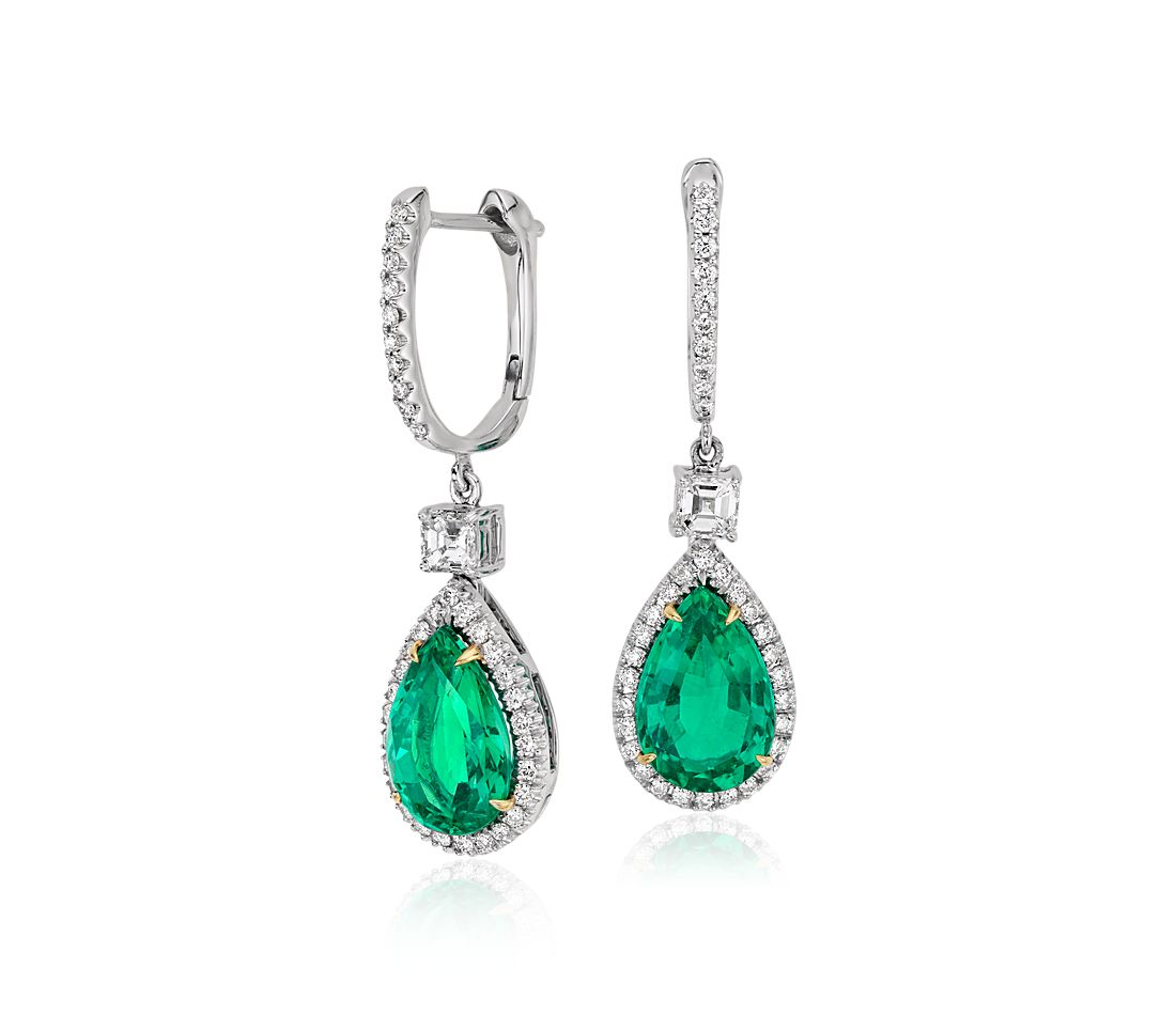 Pear Shape Emerald And Diamond Drop Earrings In 18k White Yellow Gold 3 86 Ct 10 6x7mm