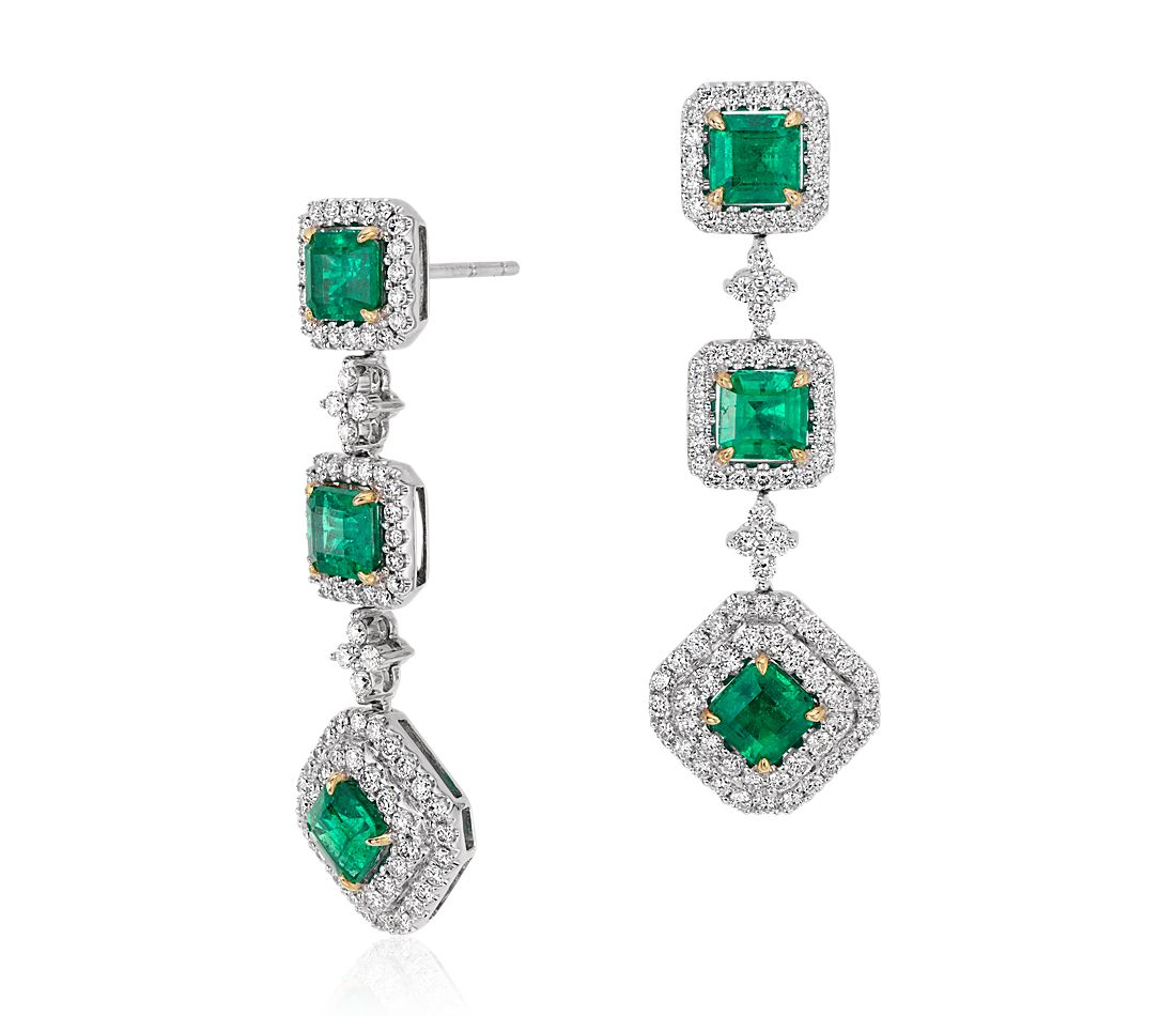 Square Cut Emerald And Diamond Triple Drop Earrings In 18k White Yellow Gold 3 77 Ct Tw Centers