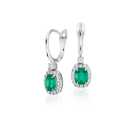 18k 白金 綠寶石與鑽石吊式耳環<br>( 6x5毫米)