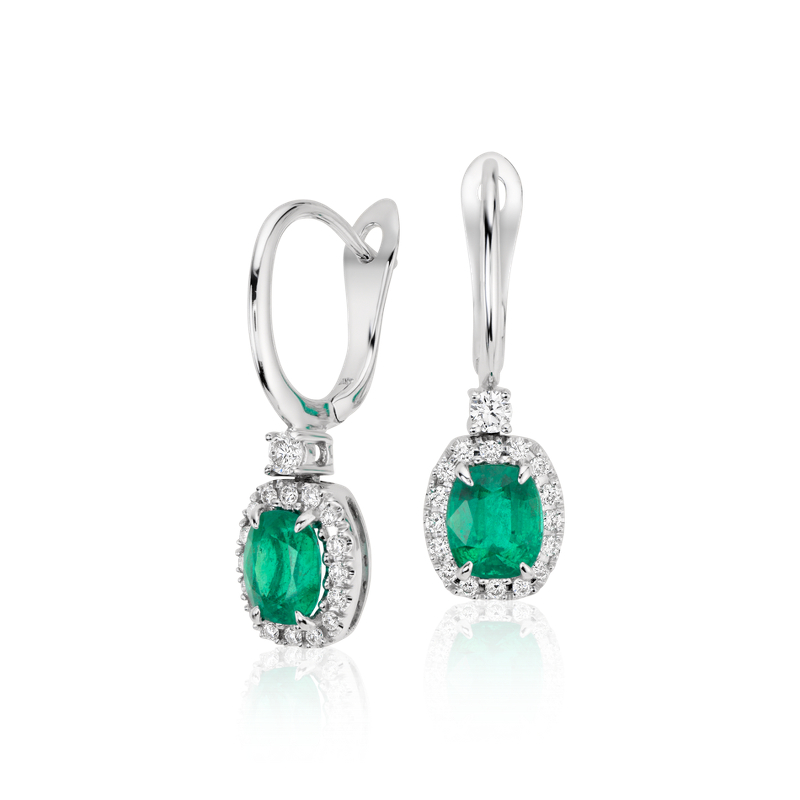 Cushion Emerald and Diamond Drop Earrings in 18k White Gold (6x5m