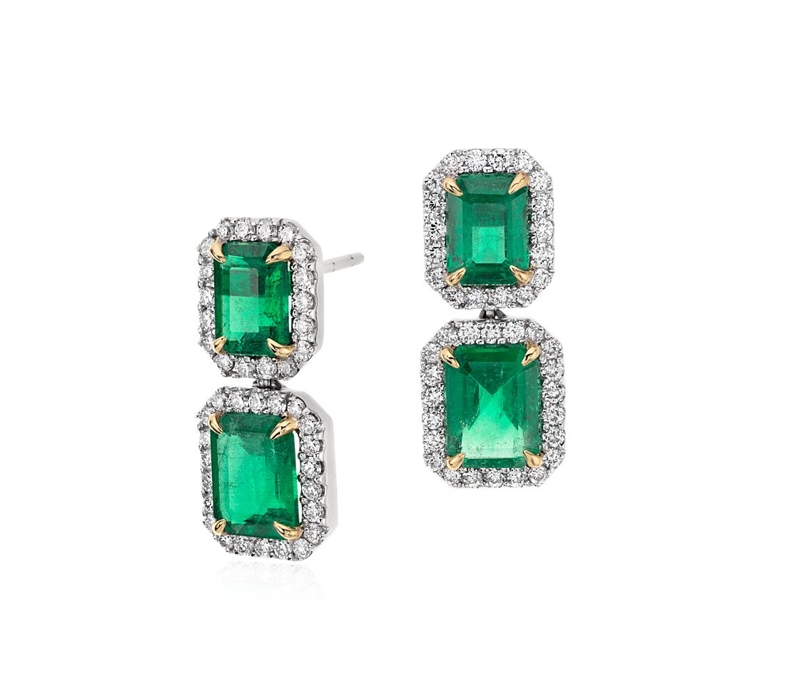 Emerald Cut Diamond Pavé Drop Earrings In 18k White Gold 4 77 Ct Center
