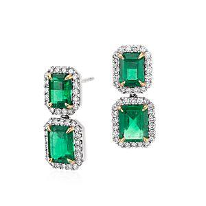 Boucles d'oreilles en émeraude taille émeraude pavé de diamants en or blanc 18carats (4,77 ct au centre)