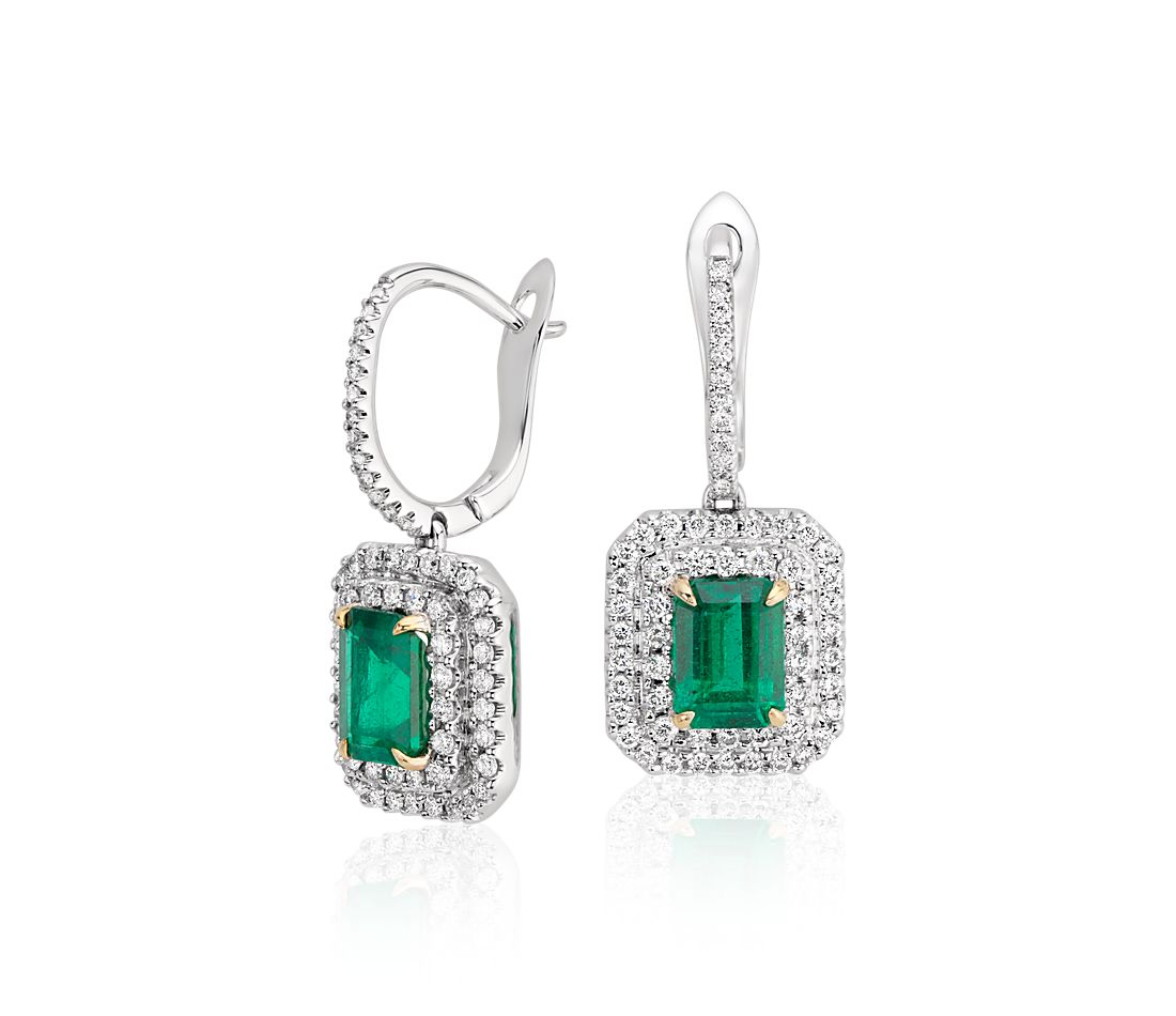 Emerald Cut And Diamond Double Halo Drop Earrings In 18k White Gold 7x5mm