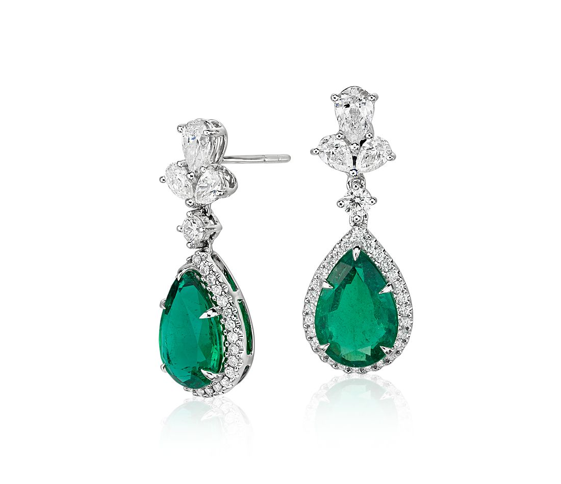 Emerald And Diamond Drop Earrings In 18k White Gold 4 7 Cts
