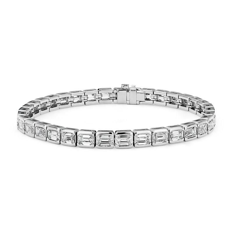 Emerald-Cut Diamond Eternity Line Tennis Bracelet in Platinum (11
