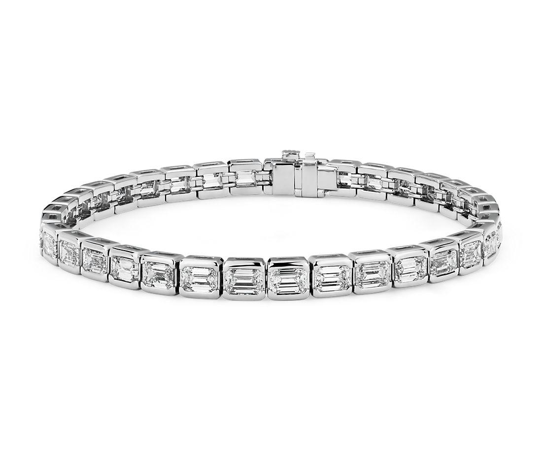 铂金绿宝石切割钻石 Eternity Line 网球手链<br>(11.10 克拉总重量)
