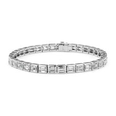 Emerald-Cut Diamond Eternity Line Tennis Bracelet in Platinum (11.10 ct. tw.)