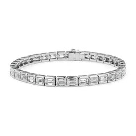 NEW Emerald-Cut Diamond Eternity Line Tennis Bracelet in Platinum (11.10 ct. tw.)