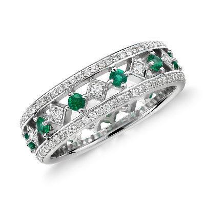 Gala Emerald and Diamond Eternity Ring in 18k White Gold Blue Nile