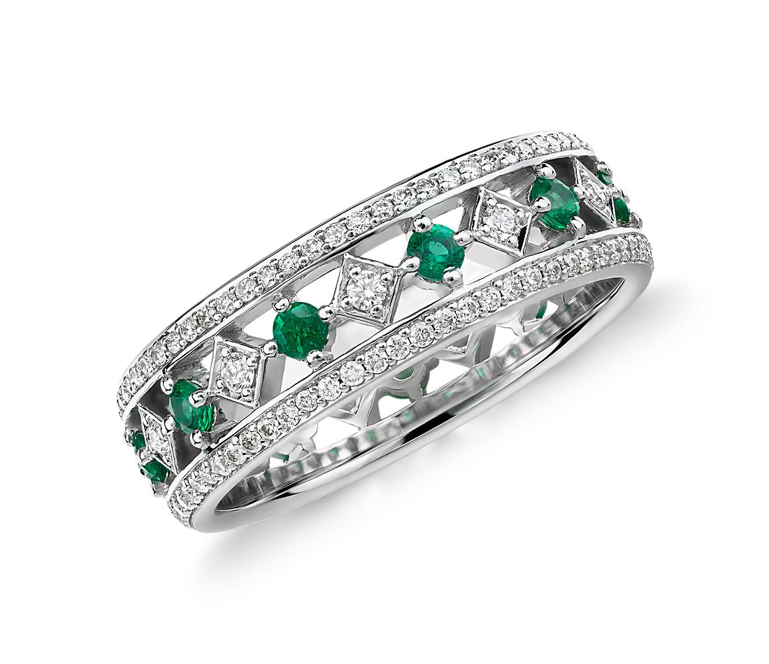 gala emerald and eternity ring in 18k white gold