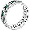 18k 白金晚宴绿宝石与钻石永恒戒指