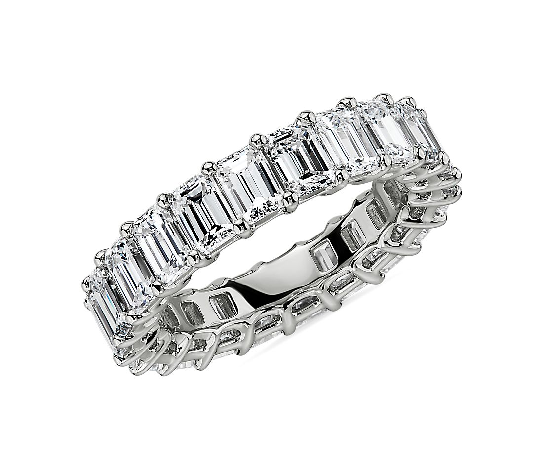 Emerald Cut Diamond Eternity Ring in Platinum (5.5 ct. tw.)