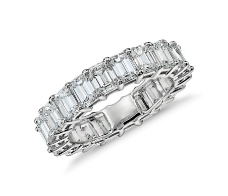 Emerald Cut Diamond Eternity Ring in Platinum (5 ct. tw.)