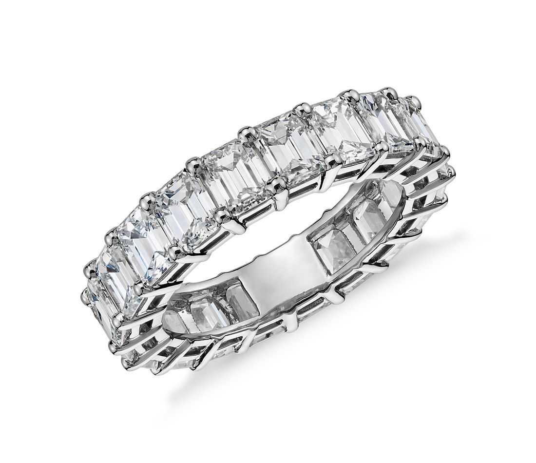 Emerald Cut Diamond Eternity Ring in Platinum, 6 ct. tw.