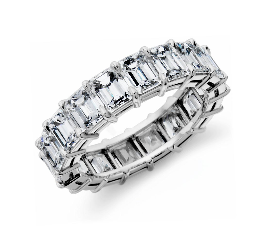 Emerald Cut Diamond Eternity Ring In Platinum (7.40 Ct. Tw