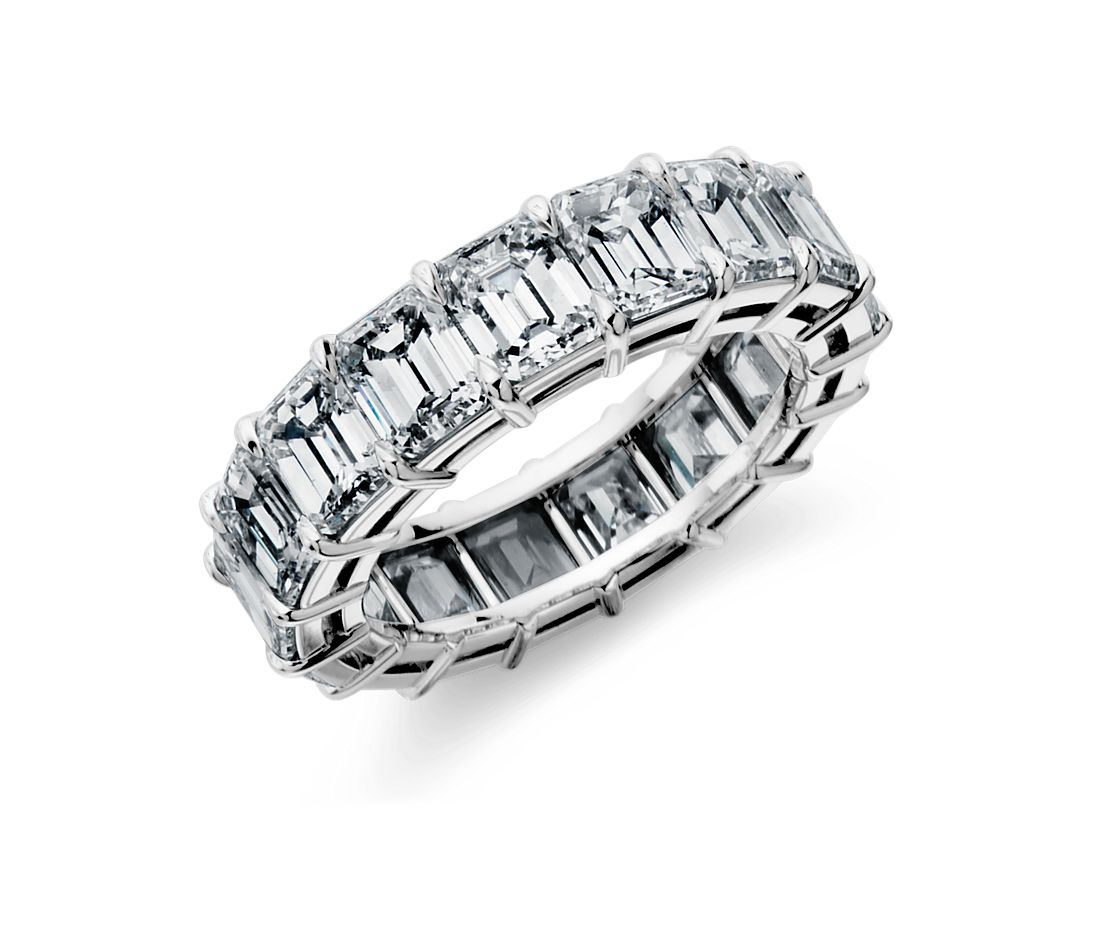 Emerald Cut Diamond Eternity Ring in Platinum, 11 ct. tw.