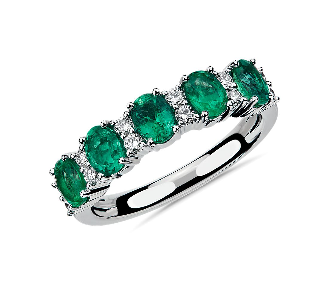 Emerald and Diamond Five-Stone Ring in 14k White Gold
