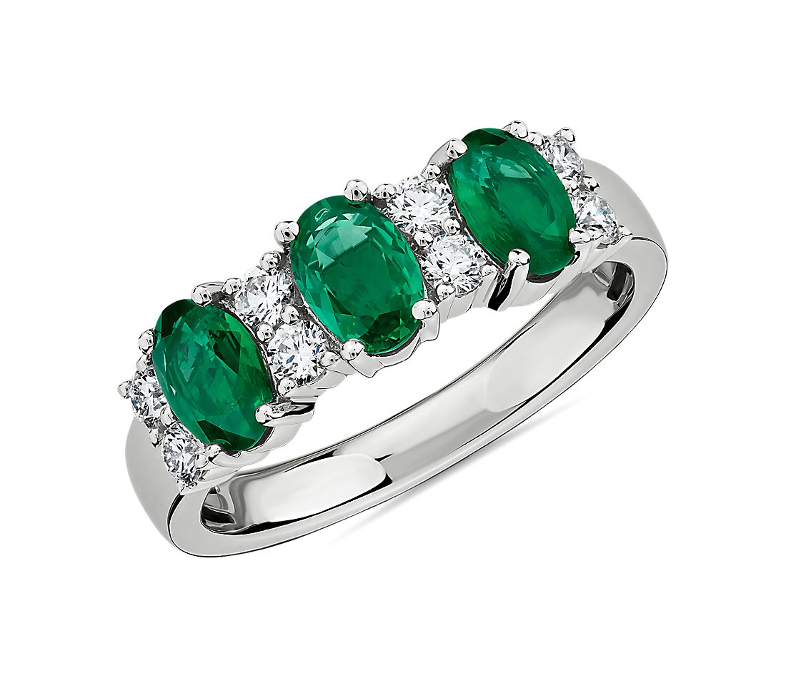 Emerald and Diamond Three-Stone Ring in 14k White Gold