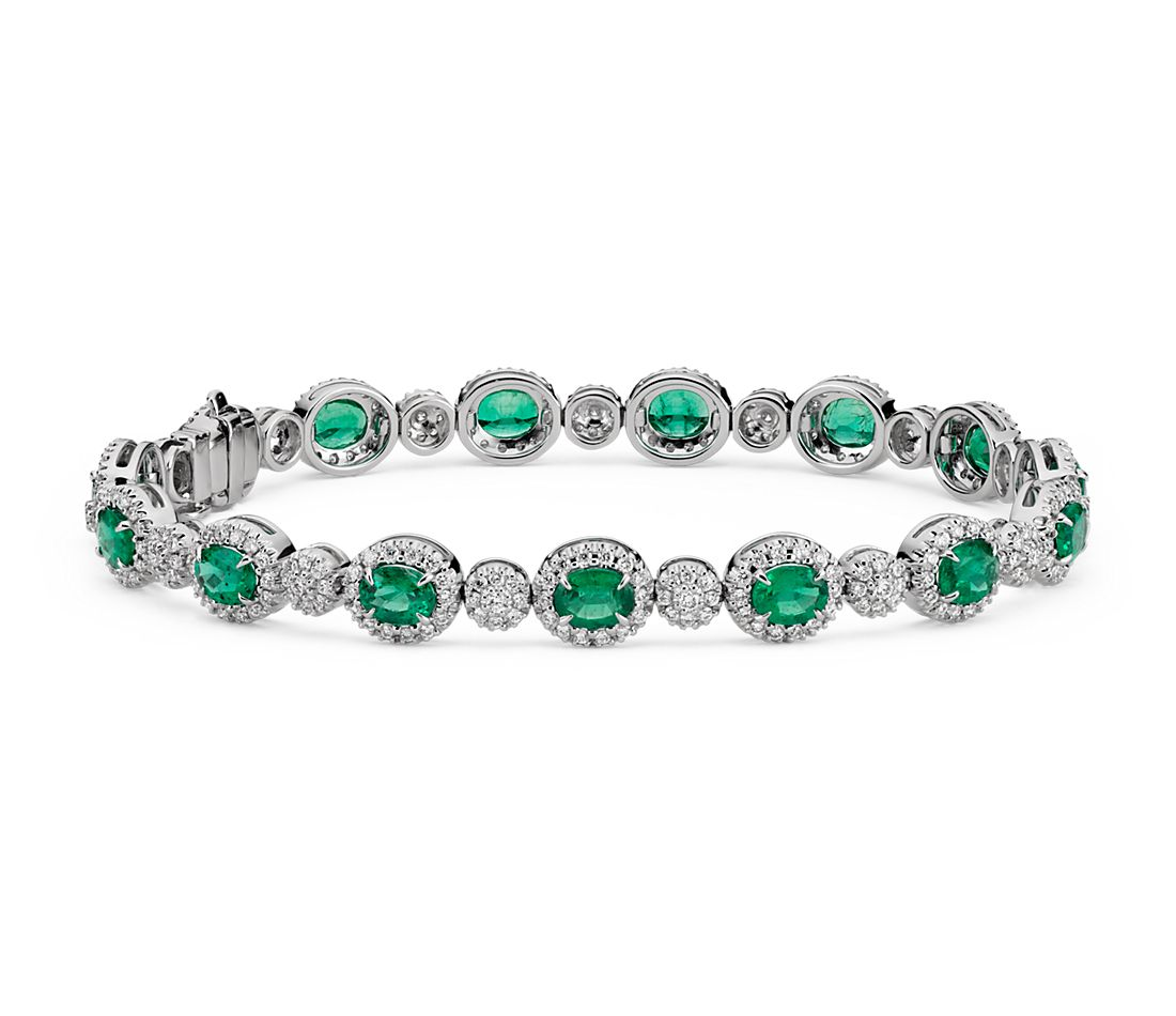 emerald and diamond halo bracelet in 18k white gold 5x4mm