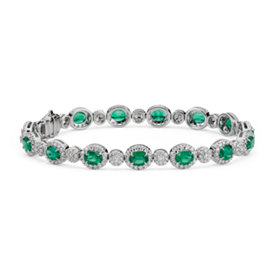 Emerald and Diamond Halo Bracelet in 18k White Gold (5x4mm)