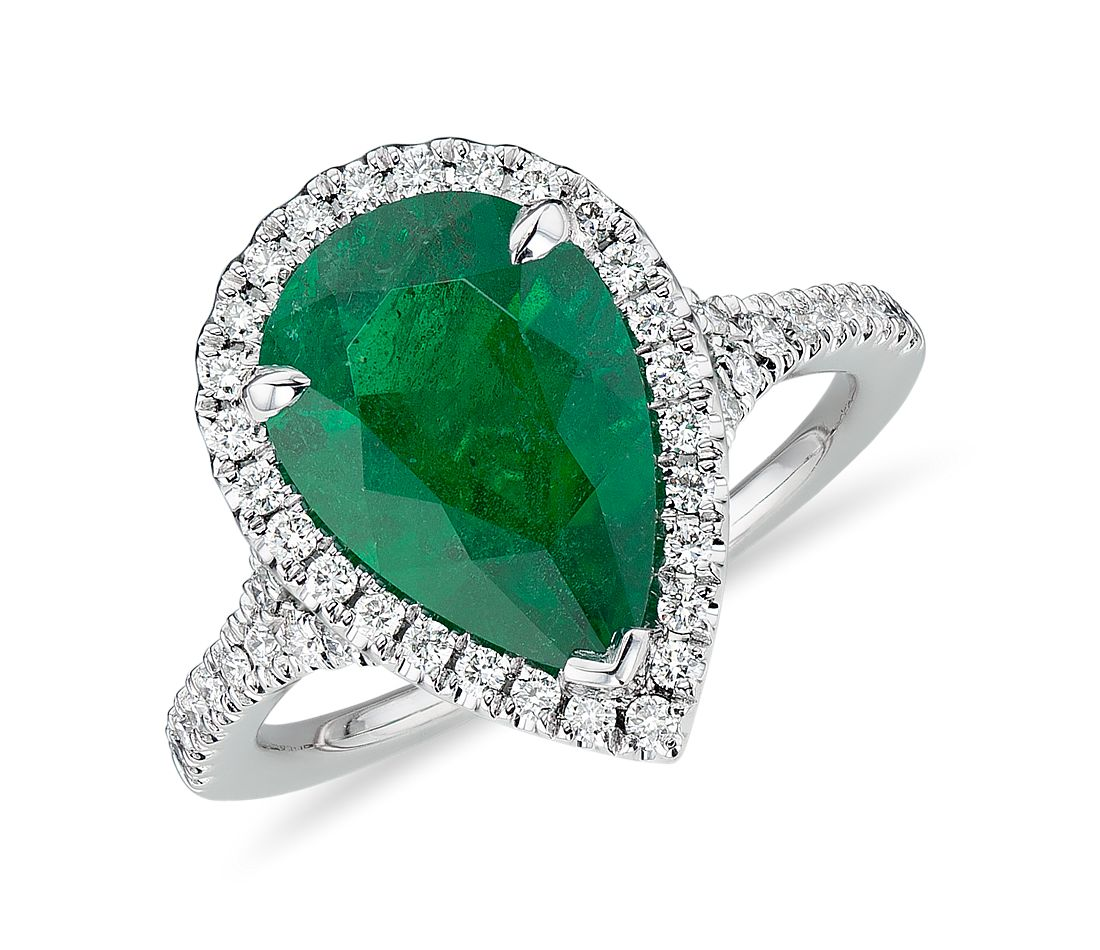 emerald pear shape and halo cocktail ring in