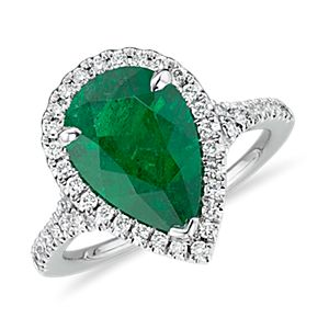 Emerald Pear-Shape and Diamond Halo Cocktail Ring in Platinum (3.22 ct. center)