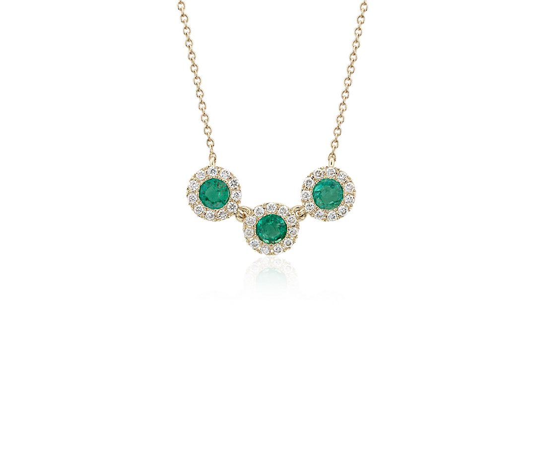 Emerald and Diamond Halo Crown Necklace in 14k Yellow Gold (3.5mm)